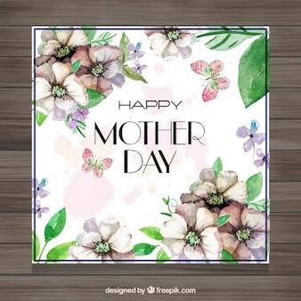 Cartão do dia de mãe do vintage com flores detalhes