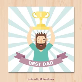 Cartão do dia de pai do homem com troféu