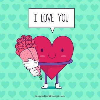 Cartão do dia dos namorados com coração