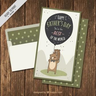 cartão do dia dos pais do vintage com ursos bonitos