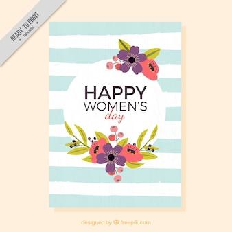 Cartão do dia floral das mulheres com listras azuis e brancas