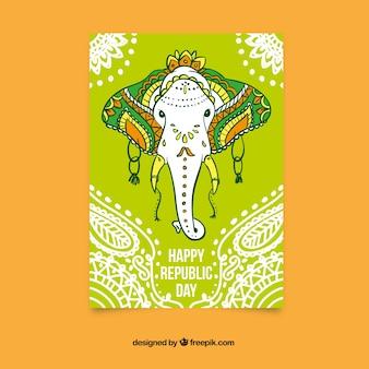 Cartão do dia república feliz com um elefante