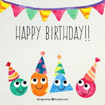 Cartão do feliz aniversario no estilo da aguarela