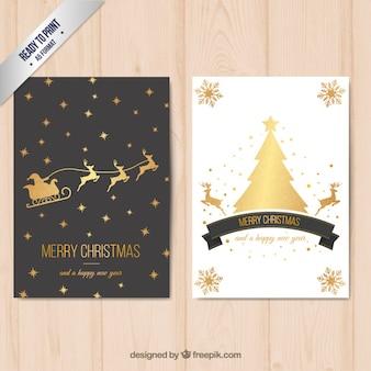 Cartão do Feliz Natal com decoração dourada