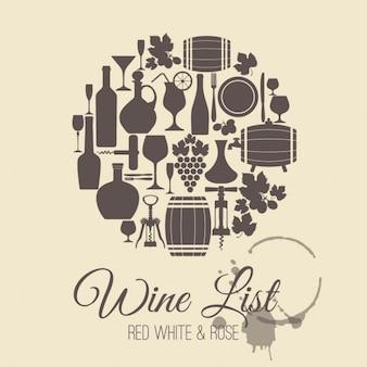 cartão do menu do vinho
