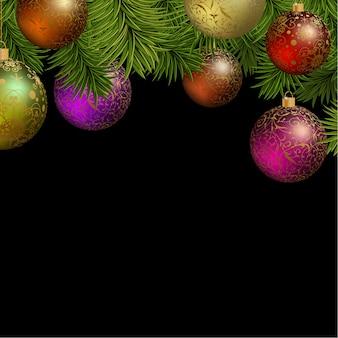 Cartão do Natal com bolas coloridas