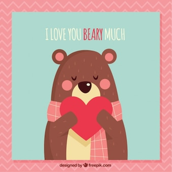 Cartão do urso encantador com coração e bela frase