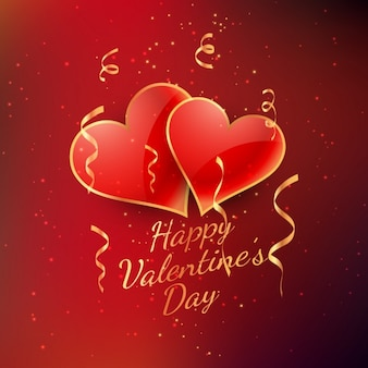 Cartão dos Valentim com corações e serpentina de ouro