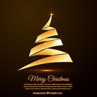 Cartão dourado da árvore de Natal