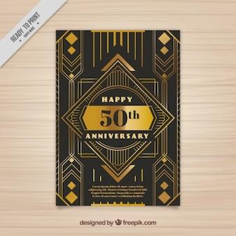 Cartão dourado do aniversário em estilo art deco