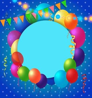 Cartão e balões no padrão de ponto