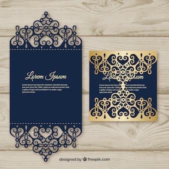 Cartão elegante com corte a laser e detalhe de ouro