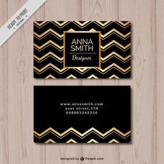 Cartão elegante com linhas em ziguezague de ouro