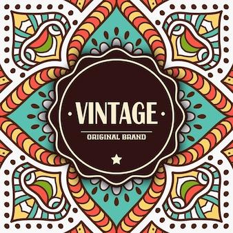 Cartão elegante com ornamento de renda e lugar para texto no fundo Convite do casamento do estilo vintage Mandala do vetor