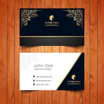 Cartão elegante com ornamentos de ouro
