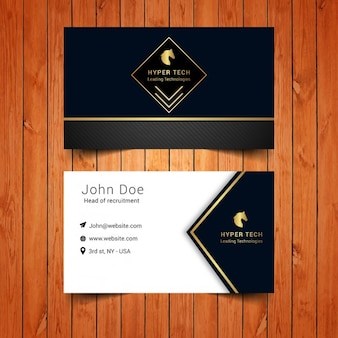 Cartão elegante com quadrado de ouro
