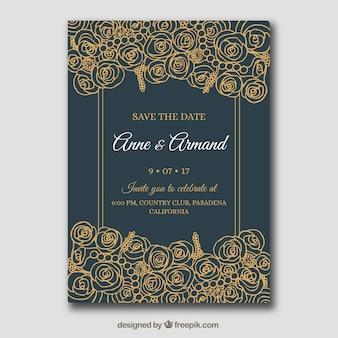 Cartão escuro do convite do casamento com flores desenhados mão