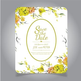 Cartão floral amarelo do convite do casamento da aguarela desenhada mão