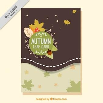 Cartão outonal com folhas