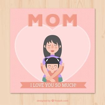 Cartão pontilhada de mãe orgulhosa com sua filha