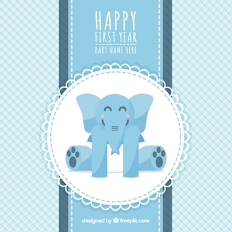 Cartão Primeiro aniversário com um elefante
