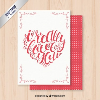 Cartão romântico com coração caligráfico