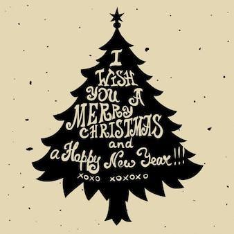 Cartão sujo do Natal com árvore de pinho e citações