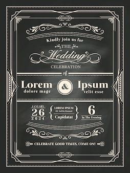 Cartão vintage do convite do casamento do quadro no quadro-negro com giz