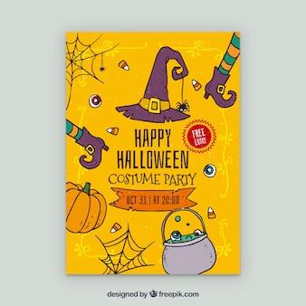 Cartaz amarelo da festa de Halloween com elementos