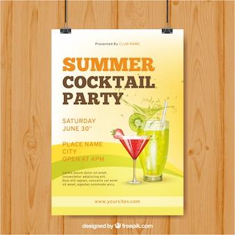 Cartaz da festa com bebidas de verão