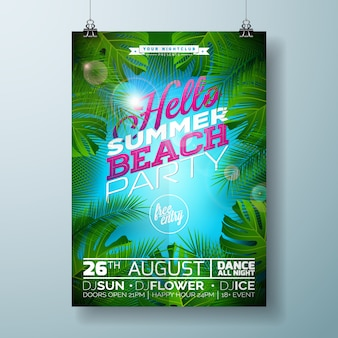 Cartaz da festa da praia de verão com desenho de palmeiras