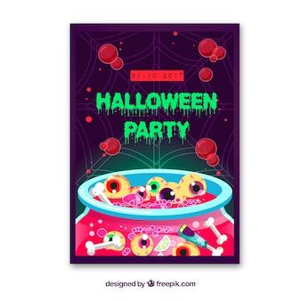 Cartaz da festa de Halloween com os olhos