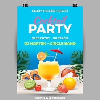 Cartaz da festa de verão com cocktails