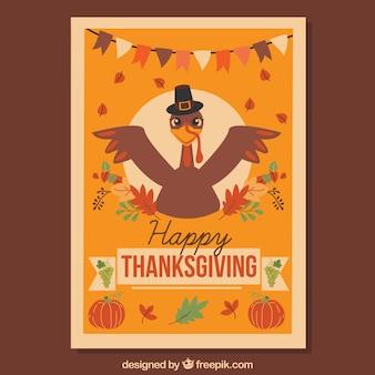 Cartaz de Ação de Graças com peru