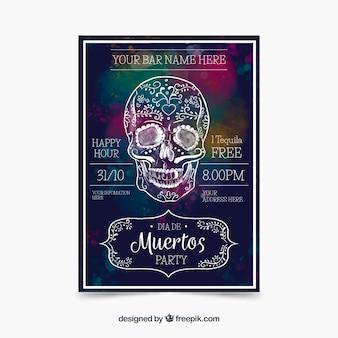 Cartaz de aquarela com caveira mexicana desenhada a mão