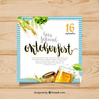 Cartaz de aquarela para festa mais oktoberfest