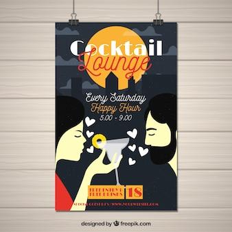 Cartaz de cocktails com um casal