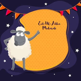 Cartaz de Eid-Ul-Adha Mubarak, bandeira com ovelha.