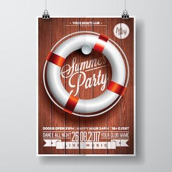 Cartaz de festa de verão com design de barco