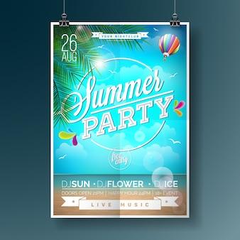 Cartaz de festa de verão com design de praia