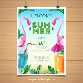 Cartaz de festa de verão com flamingos de aquarela