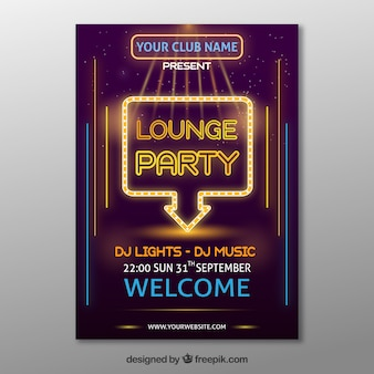 Cartaz de festa elegante com luzes de néon