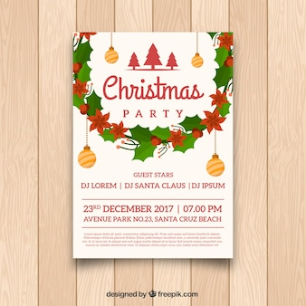 Cartaz de natal com decoração clássica