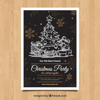 Cartaz de Natal com estilo desenhado a mão