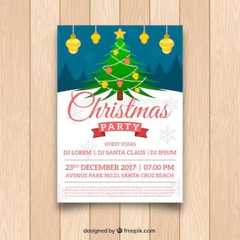 Cartaz de Natal com linda árvore