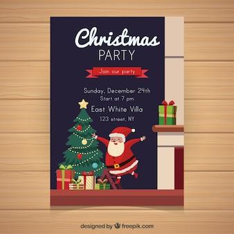 Cartaz de natal tradicional com design plano