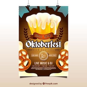 Cartaz de Oktoberfest com cerveja e pretzels