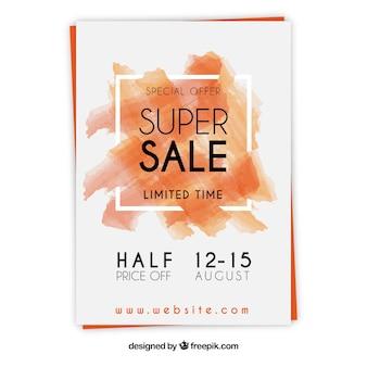 Cartaz de vendas de aquarela