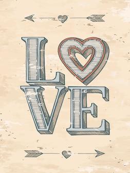 Cartaz desenhado mão do amor
