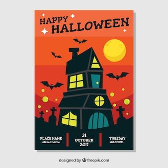 Cartaz do Dia das Bruxas com casa assombrada